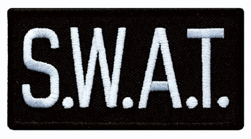 """S.W.A.T. Chest Patch, White/Black, 4x2"""""""