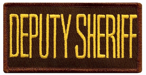 "DEPUTY SHERIFF Chest Patch, Medium Gold/Brown, 4x2"""