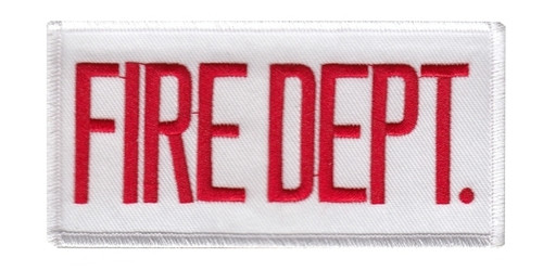 """FIRE DEPT. Chest Patch, Red/White, 4x2"""""""