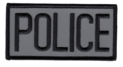 "POLICE Chest Patch, Reflective, Black/Reflective Grey, 4x2"""