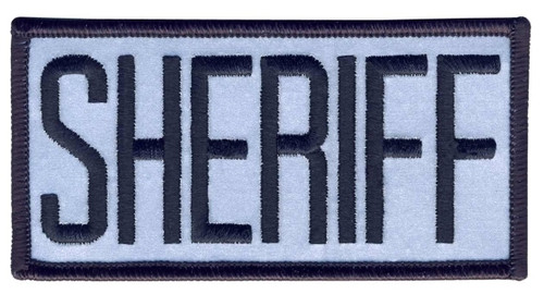"SHERIFF Chest Patch, Reflective, Black/Reflective Grey, 4x2"""