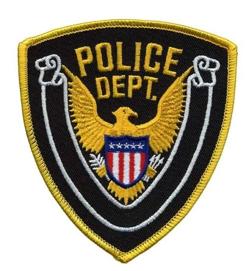 """POLICE DEPT., Eagle w/Blank Scroll, Medium Gold Border on Midnight Twill, 4x4-3/8"""""""
