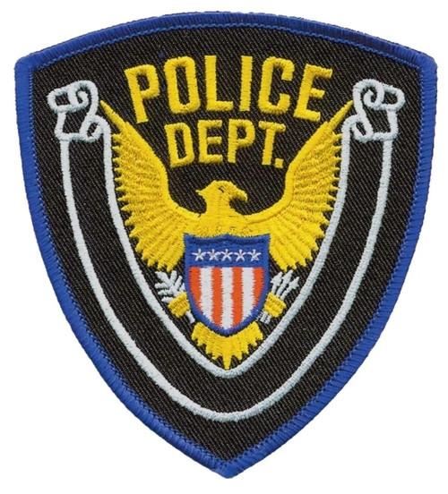 """POLICE DEPT., Eagle w/Blank Scroll, Royal Blue Border on Midnight Twill, 4x4-3/8"""""""