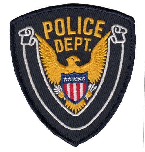 "POLICE DEPT., Eagle w/Blank Scroll, Dark Navy Border on Midnight Twill, 4x4-3/8"""