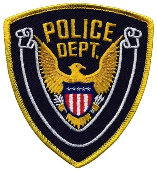 """POLICE DEPT., Eagle w/Blank Scroll, Medium Gold Border on Navy Blue Twill, 4x4-3/8"""""""