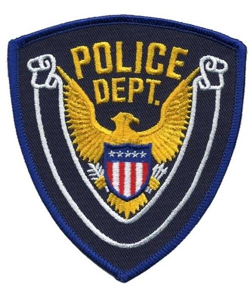 """POLICE DEPT., Eagle w/Blank Scroll, Royal Blue Border on Navy Blue Twill, 4x4-3/8"""""""