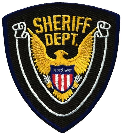 """SHERIFF DEPT., Eagle w/Blank Scroll, Dark Navy Border on Midnight Twill, 4x4-3/8"""""""