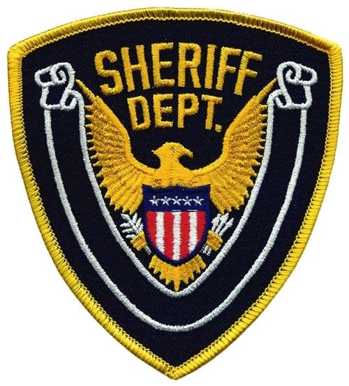 """SHERIFF DEPT., Eagle w/Blank Scroll, Medium Gold Border on Navy Blue Twill, 4x4-3/8"""""""