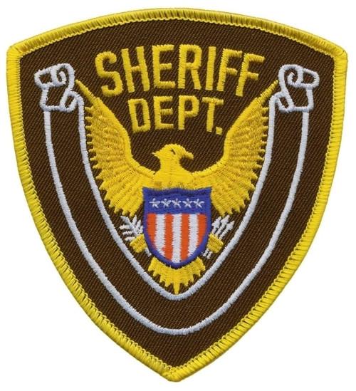 """SHERIFF DEPT., Eagle w/Blank Scroll, Medium Gold Border on Brown Twill, 4x4-3/8"""""""