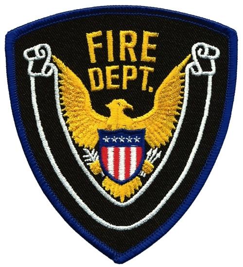 """FIRE DEPT., Eagle w/Blank Scroll, Royal Blue Border on Midnight Twill, 4x4-3/8"""""""