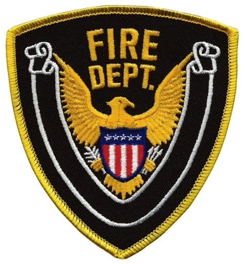 "FIRE DEPT., Eagle w/Blank Scroll, Medium Gold Border on Midnight Twill, 4x4-3/8"""