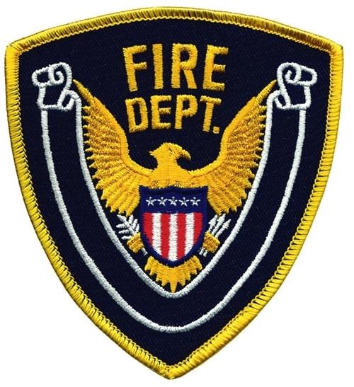 """FIRE DEPT., Eagle w/Blank Scroll, Medium Gold Border on Navy Blue Twill, 4x4-3/8"""""""