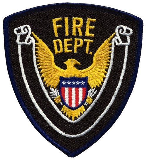 "FIRE DEPT., Eagle w/Blank Scroll, Dark Navy Border on Midnight Twill, 4x4-3/8"""