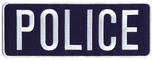 """POLICE Back Patch, Hook, White/Navy Blue, 11x4"""""""