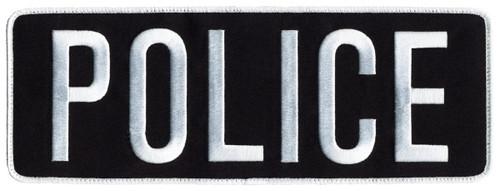 "POLICE Back Patch, Hook, White/Dark Navy, 11x4"""