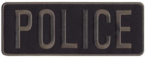 """POLICE Back Patch, Hook, Grey/Midnight Blue, 11x4"""""""