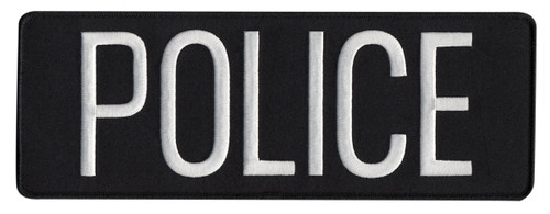 "POLICE Back Patch, Hook, White/Black-Black Border 11x4"""