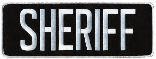 "SHERIFF Back Patch, Hook, White/Black, 11x4"""