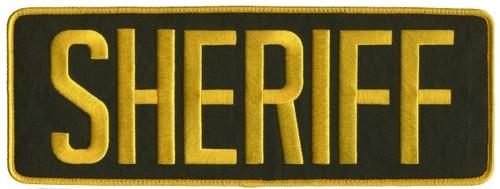 "SHERIFF Back Patch, Hook, Medium Gold/O.D. (LASD), 11x4"""