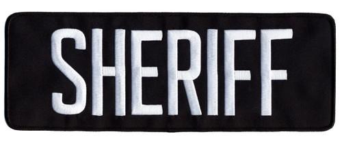 "SHERIFF Back Patch w/Hook, White/Midnight Blue, 11x4"""