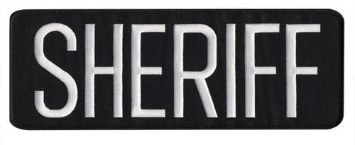 "SHERIFF Back Patch, Hook, White/Black-Black Border, 11x4"""