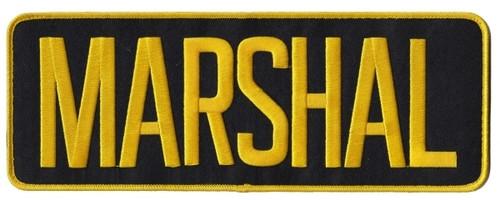 "MARSHAL Back Patch, Hook, Medium Gold/Black, 11x4"""
