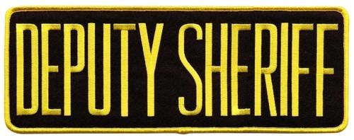 """DEPUTY SHERIFF Back Patch, Hook, Medium Gold/Black, 11x4"""""""
