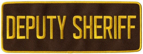 "DEPUTY SHERIFF Back Patch, Hook, Medium Gold/Brown 11x4"""