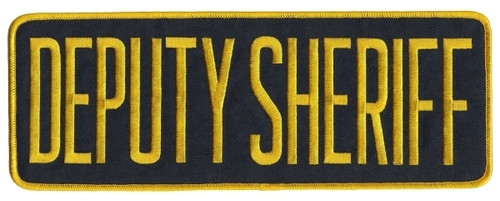 "DEPUTY SHERIFF Back Patch, Hook, Medium Gold/Midnight, 11x4"""