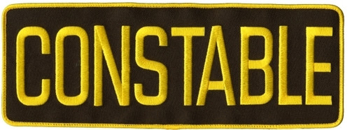"""CONSTABLE Back Patch, Hook, Medium Gold/Brown 11x4"""""""