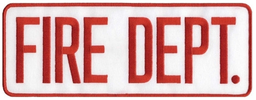 """FIRE DEPT. Back Patch, Hook, Red/White, 11x4"""""""