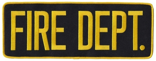 "FIRE DEPT. Back Patch, Hook, Medium Gold/Midnight, 11x4"""