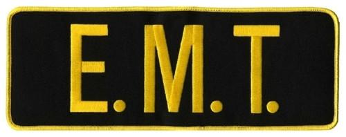 "E.M.T. Back Patch, Hook, Medium Gold/Black, 11x4"""
