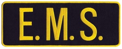 "E.M.S. Back Patch, Hook, Medium Gold/Midnight, 11x4"""
