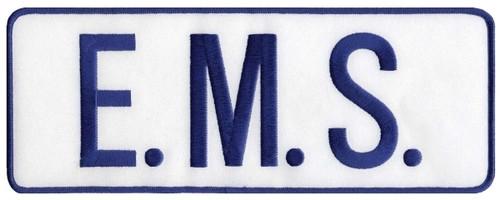 """E.M.S. Back Patch, Hook, Royal/White, 11x4"""""""
