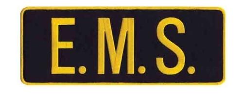 "E.M.S. Back Patch, Hook, Medium Gold/Black, 11x4"""