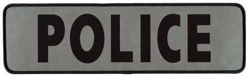 "POLICE Back Patch, Printed, Reflective, Hook, Black/Silver, 12x3-1/2"""