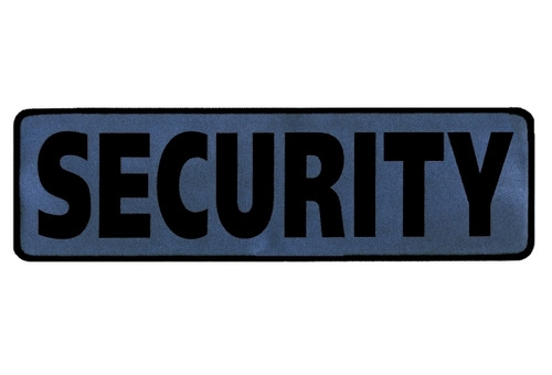 """SECURITY Back Patch, Printed, Reflective, Hook, Black/Silver, 12x3-1/2"""""""
