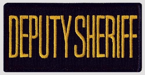 "DEPUTY SHERIFF Chest Patch, Hook, Medium Gold/Midnight Blue 4x2"""