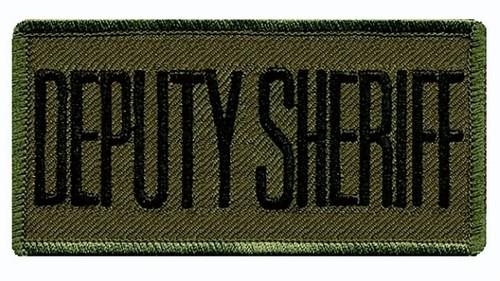 """DEPUTY SHERIFF Chest Patch, Hook, Black/O.D., 4x2"""""""