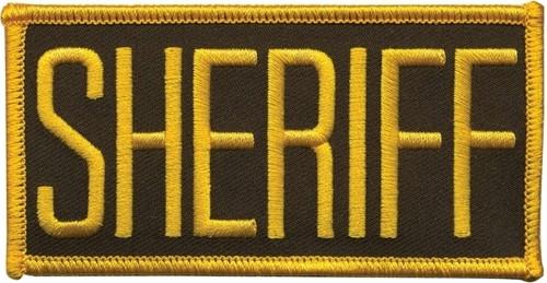 "SHERIFF Chest Patch, Hook, Medium Gold/O.D.(LASD) 4x2"""