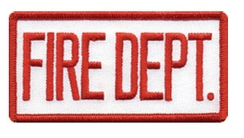 """FIRE DEPT. Chest Patch, Hook, Red/White, 4x2"""""""