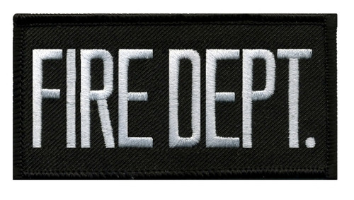 """FIRE DEPT. Chest Patch, Hook, White/Black, 4x2"""""""