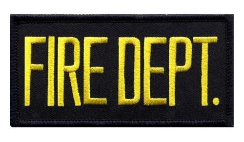 """FIRE DEPT. Chest Patch, Hook, Medium Gold/Midnight Blue 4x2"""""""