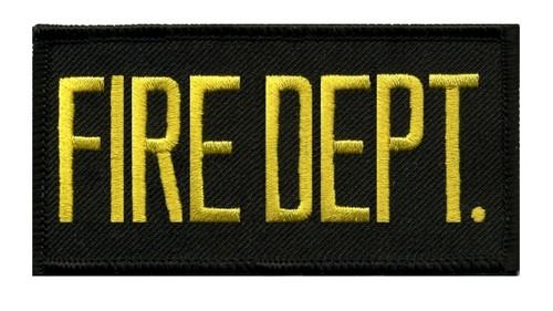 """FIRE DEPT. Chest Patch, Hook, Medium Gold/Black, 4x2"""""""