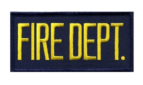 """FIRE DEPT. Chest Patch, Hook, Medium Gold/Navy Blue, 4x2"""""""