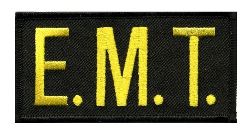 "E.M.T. Chest Patch, Hook, Medium Gold/Black, 4x2"""