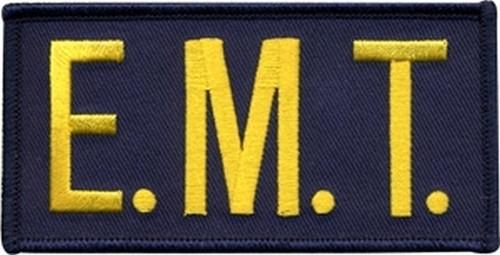 "E.M.T. Chest Patch, Hook, Medium Gold/Navy Blue, 4x2"""