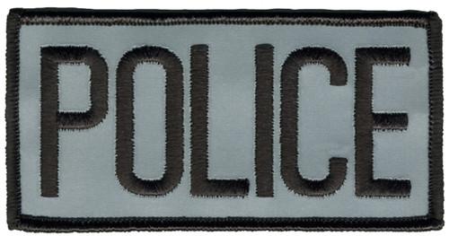 "POLICE Chest Patch, Hook, Black/Reflective Grey, 4x2"""