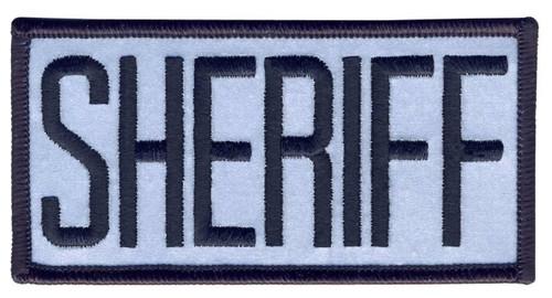 """SHERIFF Chest Patch, Reflective, Hook, Black/Reflective Grey, 4x2"""""""